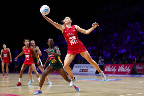 Picture by Alex Whitehead/SWpix.com - 21/07/2019 - Netball - Vitality Netball World Cup 2019 bronze medal match - England v South Africa - M&S Bank Arena, Liverpool, England - Jade Clarke of England and Bongiwe Msomi of South Africa. | SWpix.com