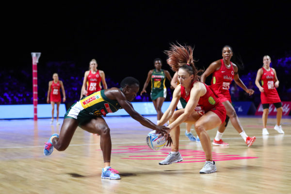 Picture by Alex Whitehead/SWpix.com - 21/07/2019 - Netball - Vitality Netball World Cup 2019 bronze medal match - England v South Africa - M&S Bank Arena, Liverpool, England - Bongiwe Msomi of South Africa and Jade Clarke of England. | SWpix.com