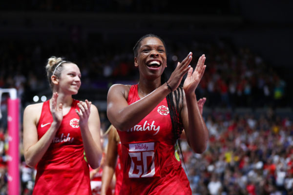 Picture by Alex Whitehead/SWpix.com - 21/07/2019 - Netball - Vitality Netball World Cup 2019 bronze medal match - England v South Africa - M&S Bank Arena, Liverpool, England - Eboni Usoro-Brown of England celebrates the win. | SWpix.com