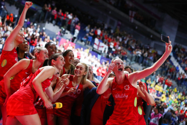Picture by Alex Whitehead/SWpix.com - 21/07/2019 - Netball - Vitality Netball World Cup 2019 bronze medal match - England v South Africa - M&S Bank Arena, Liverpool, England - England take a selfie after the game. | SWpix.com