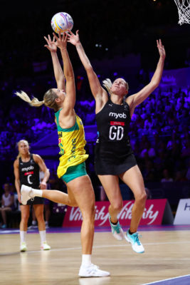 Picture by Alex Whitehead/SWpix.com - 21/07/2019 - Netball - Vitality Netball World Cup 2019 final - Australia v New Zealand - M&S Bank Arena, Liverpool, England - Caitlin Bassett of Australia and Casey Kopua of New Zealand. | SWpix.com