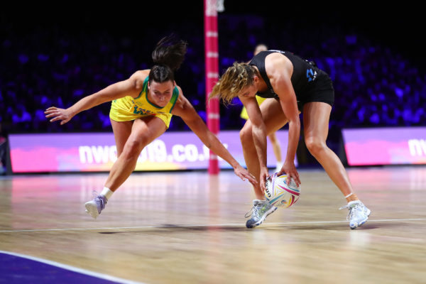 Picture by Alex Whitehead/SWpix.com - 21/07/2019 - Netball - Vitality Netball World Cup 2019 final - Australia v New Zealand - M&S Bank Arena, Liverpool, England - Kelsey Browne of Australia and Gina Crampton of New Zealand. | SWpix.com