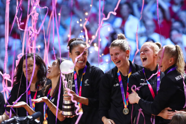 Picture by Alex Whitehead/SWpix.com - 21/07/2019 - Netball - Vitality Netball World Cup 2019 final - Australia v New Zealand - M&S Bank Arena, Liverpool, England - The Vitality Netball World Cup 2019 winners, New Zealand, during the medal ceremony.