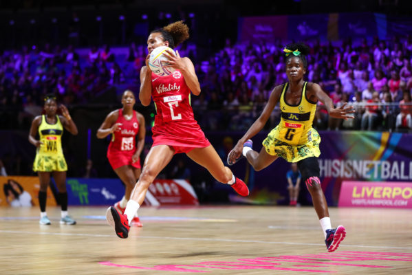 Picture by Alex Whitehead/SWpix.com - 15/07/2019 - Netball - Vitality Netball World Cup 2019 - Jamaica v England - M&S Bank Arena, Liverpool, England - Serena Guthrie of England. | SWpix.com