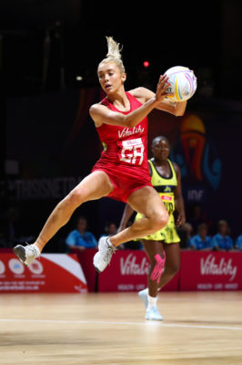 Picture by Alex Whitehead/SWpix.com - 15/07/2019 - Netball - Vitality Netball World Cup 2019 - Jamaica v England - M&S Bank Arena, Liverpool, England - Helen Housby of England. | SWpix.com