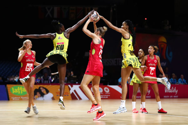 Picture by Alex Whitehead/SWpix.com - 15/07/2019 - Netball - Vitality Netball World Cup 2019 - Jamaica v England - M&S Bank Arena, Liverpool, England - Jodiann Ward of Jamaica, Joanne Harten of England and Shamera Sterling of Jamaica. | SWpix.com