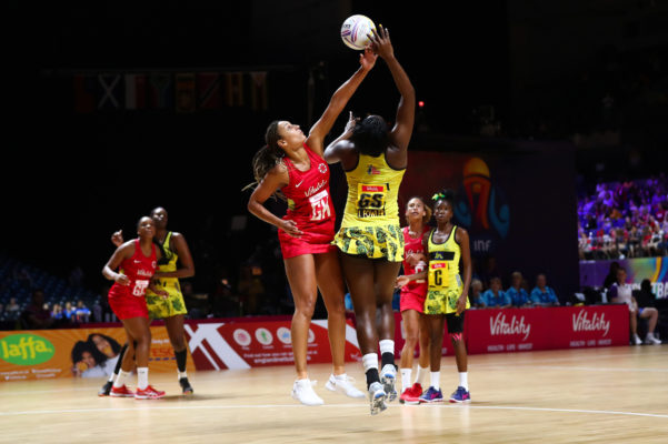 Picture by Alex Whitehead/SWpix.com - 15/07/2019 - Netball - Vitality Netball World Cup 2019 - Jamaica v England - M&S Bank Arena, Liverpool, England - Geva Mentor of England and Jhaniele Fowler of Jamaica. | SWpix.com