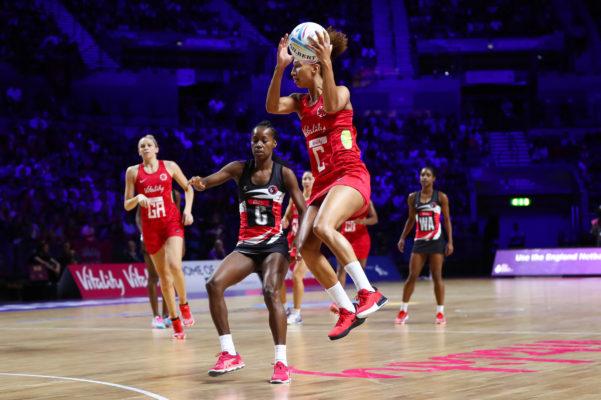 Picture by Alex Whitehead/SWpix.com - 17/07/2019 - Netball - Vitality Netball World Cup 2019 - Trinidad & Tobago v England - M&S Bank Arena, Liverpool, England - Serena Guthrie of England. | SWpix.com