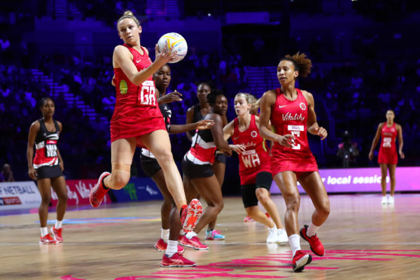 Picture by Alex Whitehead/SWpix.com - 17/07/2019 - Netball - Vitality Netball World Cup 2019 - Trinidad & Tobago v England - M&S Bank Arena, Liverpool, England - Joanne Harten of England. | SWpix.com