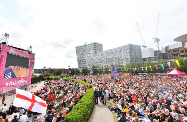 Picture by Simon Wilkinson/SWpix.com - 20/07/2019 - Netball - Vitality Netball World Cup 2019 semi final - England v New Zealand - M&S Bank Arena, Liverpool, England -  England fans in the fan park. | SWpix.com