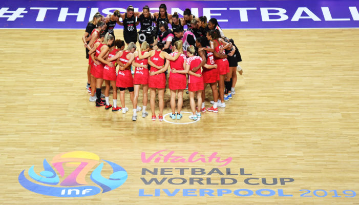 Picture by Simon Wilkinson/SWpix.com - 20/07/2019 - Netball - Vitality Netball World Cup 2019 semi final - England v New Zealand - M&S Bank Arena, Liverpool, England - England and New Zealand huddle after the game. | SWpix.com