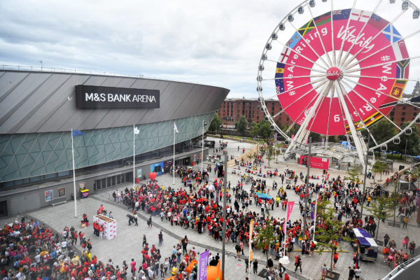 Picture by Simon Wilkinson/SWpix.com - 21/07/2019 - Netball - Vitality Netball World Cup 2019 bronze medal match - England v South Africa - M&S Bank Arena, Liverpool, England - GV General view of the England fans in the piazza outside the M&S Bank Arena. | SWpix.com