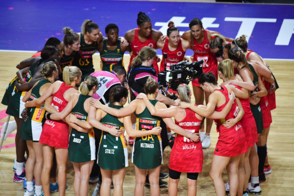 Picture by Simon Wilkinson/SWpix.com - 21/07/2019 - Netball - Vitality Netball World Cup 2019 bronze medal match - England v South Africa - M&S Bank Arena, Liverpool, England - South Africa and England huddle after the game. | SWpix.com