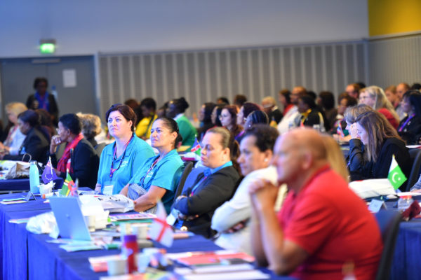 Picture by Simon Wilkinson/SWpix.com 10/07/2019 - Netball, Vitality Netball World Cup Liverpool 2019 NWC2019 - Delegates at INF International Netball Federation Congress 2019.  Far right in red - Colin Povey, EN Chair and EN Delegate | SWpix.com