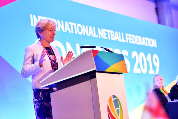 Picture by Simon Wilkinson/SWpix.com 10/07/2019 - Netball, Vitality Netball World Cup Liverpool 2019 NWC2019 - Liz Nicholl presenting at INF International Netball Federation Congress 2019 | SWpix.com