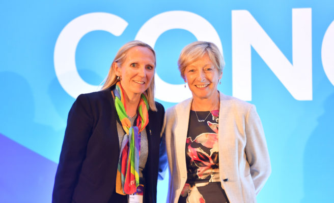 Picture by Simon Wilkinson/SWpix.com 10/07/2019 - Netball, Vitality Netball World Cup Liverpool 2019 NWC2019 - INF International Netball Federation Congress 2019.  Liz Nicholl, newly elected INF President with Claire Briegal INF CEO | SWpix.com