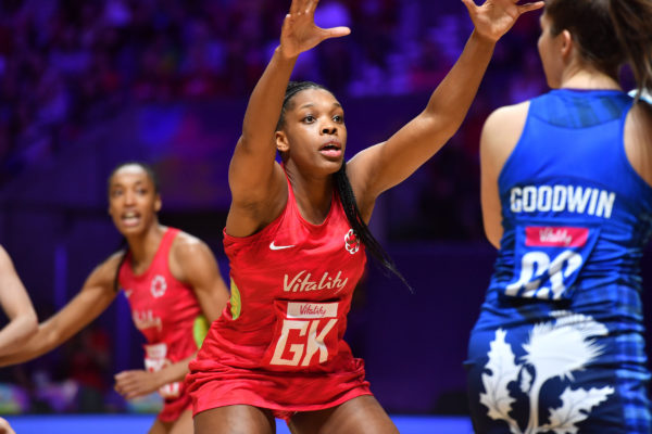 Picture by Simon Wilkinson/SWpix.com - 13/07/2019 - Netball - Vitality Netball World Cup 2019 - England v Scotland - M&S Bank Arena, Liverpool, England - Eboni Usoro-Brown of England. | SWpix.com