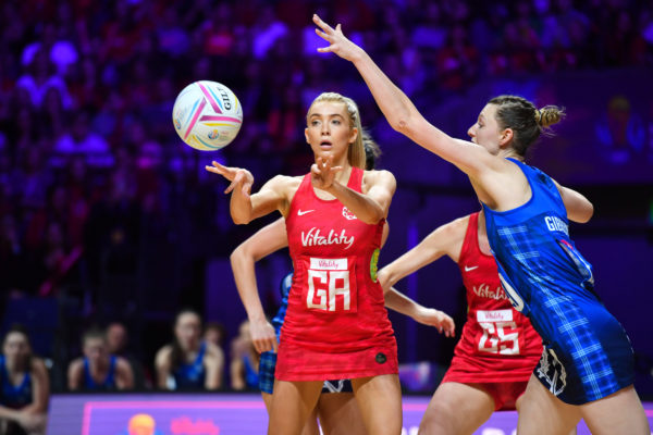 Picture by Simon Wilkinson/SWpix.com - 13/07/2019 - Netball - Vitality Netball World Cup 2019 - England v Scotland - M&S Bank Arena, Liverpool, England - Helen Housby of England and Ella Gibbons of Scotland. | SWpix.com