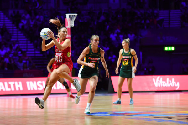 Picture by Simon Wilkinson/SWpix.com - 18/07/2019 - Netball - Vitality Netball World Cup 2019 - South Africa v England - M&S Bank Arena, Liverpool, England - Jade Clarke of England. | SWpix.com