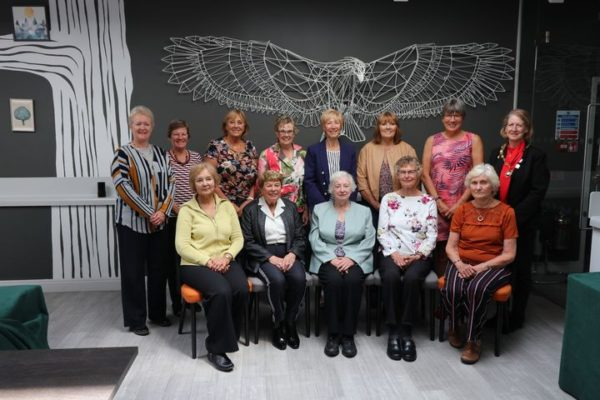 The group of past players, coaches and umpires at the Media Call.  Back Row left to right:  Margaret Deighan, Jo Kelley, Pat Watson, Mary Beardwood, Jillean Hipsey, Pat Meadows, Kendra Slawinski, Lindsay Sartori.  Front row left to right:  Eunice Smith, Phyllis Avery, Pat Harris, Anne Miles, Joyce Wheeler.