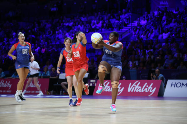 Picture by SWpix.com 19/07/2019 - Netball Vitality Netball World Cup Liverpool 2019 - M & S Bank Arena the brief, branding, Comic Relief Celebrity Netball Match - Jennifer Saunders and Oti Mabuse - Sport Relief | SWpix.com