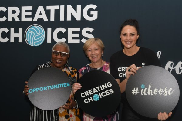 Liz Nicholl at launch of Creating Choices.  Left to right:  Sharni Layton (former Australian Captain and player), Liz Nicholl (IFN President), Caroline Barker (Sky TV)