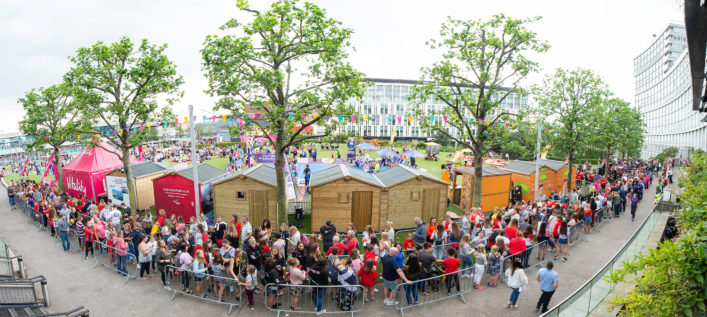 Picture by Allan McKenzie/SWpix.com - 14/07/2019 - Netball - Vitality Netball World Cup - England Team Fan Meet & Greet - Chavasse Park Fan Zone, Liverpool, England - A panoramic general view (GV) of fans waiting to meet the England netball team. | SWpix.com