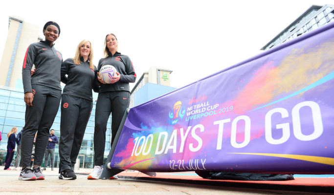 Picture SWpix.com - 03/04/2019 -Netball NWC2019 Vitality Netball World Cup Liverpool 2019 - 100 days to go Event  Media City, Manchester. Tracey Neville, Jodie Gibson, Eleanor Cardwell | SWpix.com
