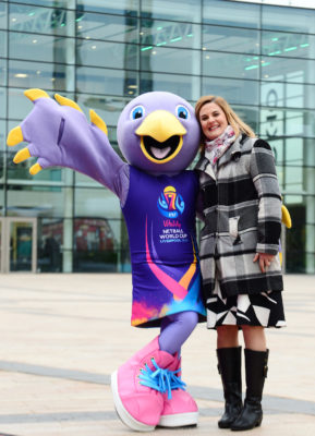 Picture SWpix.com - 03/04/2019 Netball NWC2019 Vitality Netball World Cup Liverpool 2019 - 100 Days to go Event, Media City Manchester - Mascot Jude and Lindsay Impett | SWpix.com