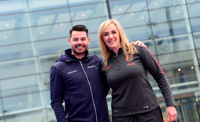 Picture SWpix.com - 03/04/2019 Netball NWC2019 Vitality Netball World Cup Liverpool 2019 - 100 Days to go Event, Media City Manchester - Tracey Neville, Dan Ryan | SWpix.com