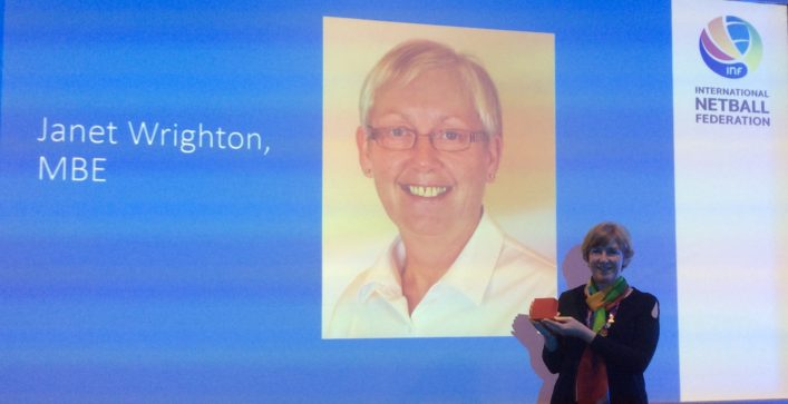Janet Wrighton, MBE,  receives International Federation Service Award (2019)