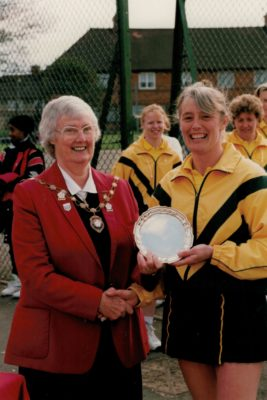 Jean Bourne, President with Somerset Plate winning captain, Wallsend NC