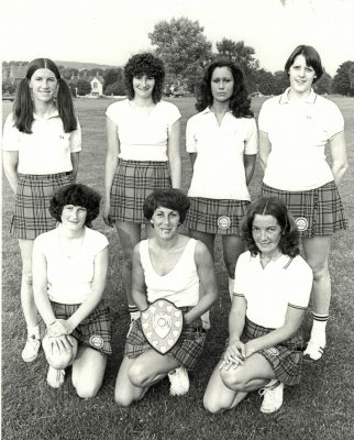 The Clan Netball Club Team circa 1976 - Back Row: ???, Jan Harper, ???, ??? Front Row:  ???, ????, Christine ?