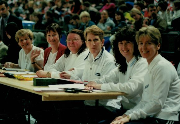 The scoring table - left to right - Jan Leach, Janet Murray, Betty Mellor, Pat Cunningham, Michelle Sutton and Jan Bennett