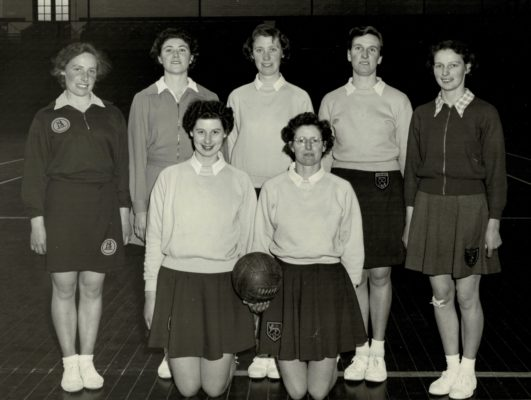 Back Row left to right:  ???, Joyce Crusty, ???, Jean Robinson, Alice Thornley Front Row:  Annette Cairncross, Jo Higgins | Murray Carstair