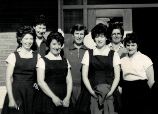England 1963.  Back Row left to right:  Annette Cairncross (Surrey), Jean Robinson (Staffordshire and Captain), Josephine Higgins (Surrey). Front Row:  Jean Heath (Surrey), Blanche Fiddler (Northumberland), Betty Burke (Northumberland), Judith Iddon (Lancashire).
