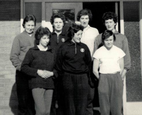 Back Row left to right:  Valerie Hindmarsh (Middlesex), Margaret Eve (Essex), June Jack (Birmingham), Anne Stephenson (Northumberland). Front Row;  Pat Wells (Middlesex), Kathie Bays (Essex), Tess Jetson (Staffordshire).