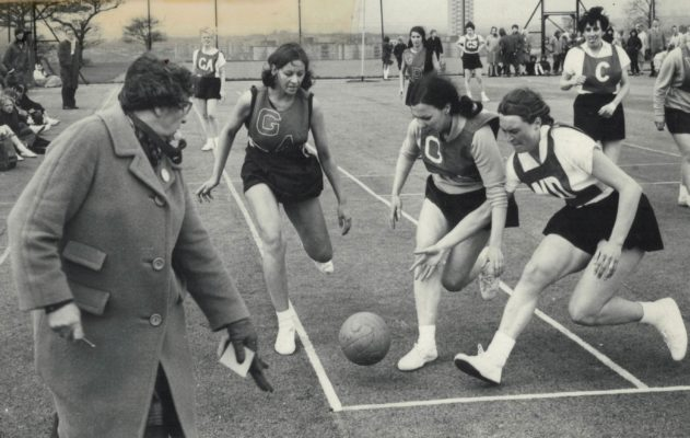Interesting photograph of the 1967 National Clubs Final umpired by Eileen Brewer.    GA attack is out of court and the C is wearing a different style bib to the rest of the team.  The photo cation reads 'Interference???'