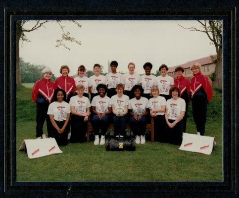 England Squad 1991 - Back Row left to right: Patsy Rochester (Physio), Betty Galsworthy (Coach), Fiona Murtagh, Sally Young, Jesslyn Parkes, Tracey Horton, Yvette Foster, Lucia Sdao, Sheelagh Redpath (Umpire), Joyce Wheeler (Manager).  Front Row left to right: Sandra Fairweather, Jane Carter, Trudy Papafio, Kendra Slawinski (Lowe) Captain, Maggie Farrell (Birkinshaw), Sharon Fogerty, Alison Keyte.