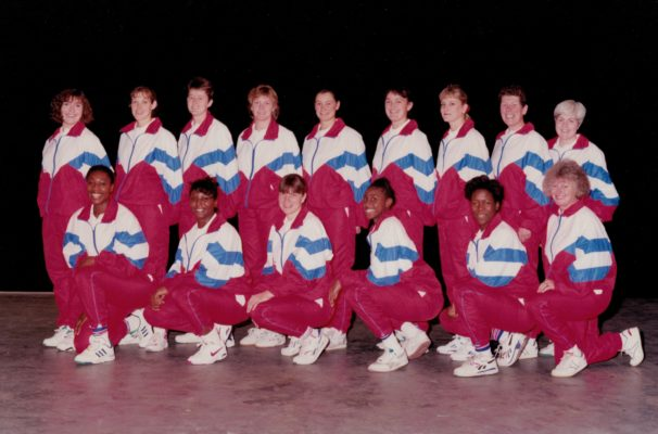 England 1991/1992 Squad for the Wembley Test. Back Row left to right - A Spink, Pat Sweeney, Sally Young, J Crocker, Lucia Sdao, Fiona Murtagh, Sharon Fogarty, Liz Broomhead (Coach), Pat Rochester (Physio). Front row left to right - Trudy Papafio, M McGrann, Kendra Slawinski (Captain), Helen Manufor, Yvette Foster, Sandra Price (Manager)