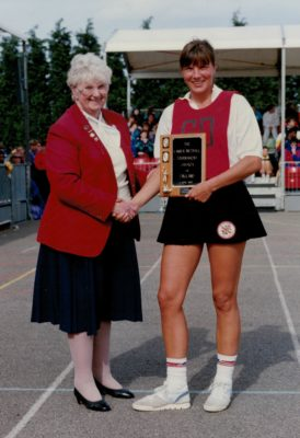Presentation of the Lanier Trophy by Pat Taylor, AENA President to England Captain Kendra Slawinski for the successful 3 - 0 Test Series against Jamaica in April