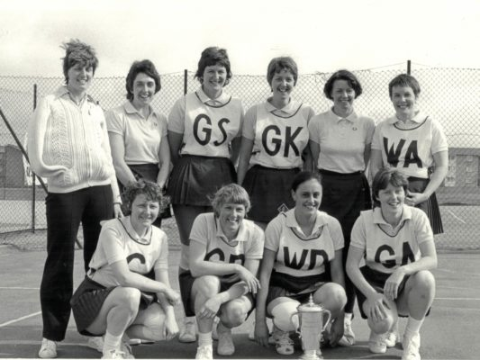 Winners Blackburn Independent Squad:  GS Chris Maylor, GA Katie Ainsworth, WA Sue Bell, C Sally Dennis, WD Ruth Thompson, GD Marion Lofthouse, GK June Steeple, Reserve Linda Pomfret  plus Susan McKeown and Joan Farley. Runners-up were OPA | Brian Worrell