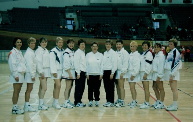 2000 FENA Championship Umpires.  From left to right:  ???, ???, Anne Abraitis, Heather Gleadall, Janet Murray, ???, Ann Curran, Madeline Mason, Janet Young, Jan Warner, Jo Kelly, Ann Norman, ???