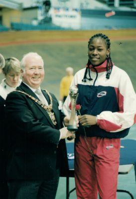 Sonia Mkoloma, England Open Squad Captain receiving winners trophy from Tony Burns, Mayor of Manchester