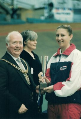 England U21 Captain receiving U21 trophy from Tony Burns, Mayor of Manchester