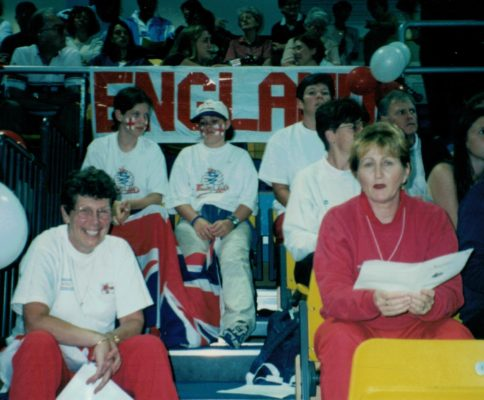 England Supporters at World Youth Championship, Wales:  Foreground left Liz Broomhead, Chairman of Performance Committee and right Julie Hoornweg, National Coach