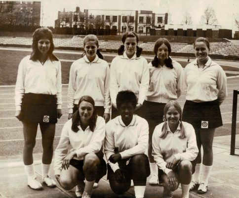 England Schoolgirl Squad. Back row, l-r: Kath Quick, Colette Reeder, Maddy Dawn, ???, ??? Front row, l-r: ???, ???, Chris Hutchings