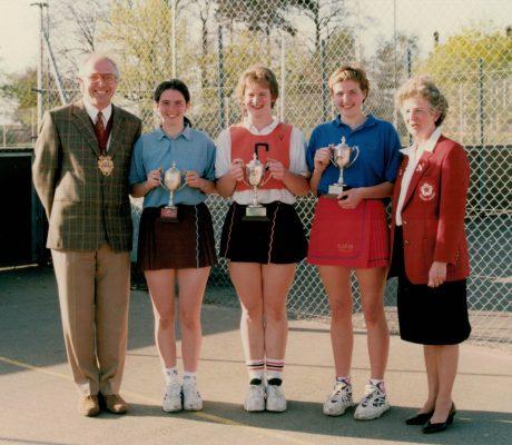 Winning Captains with Joan Mills.  Left to right: Essex Open U16, Hertford Hornets U23, Oldham U19