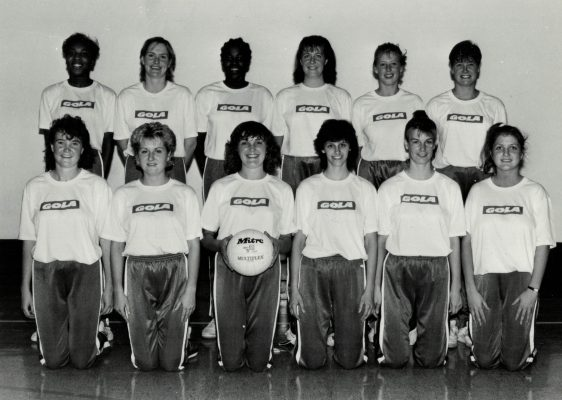 England Under 21 Squad.  Back row left to right:  Lorna Hylton (Leicestershire), Justine Saunders (Bedfordshire), Cynthia Duncan (Essex Met), Vicki Cox (Bedfordshire), Tracy Miller (East Dorset), Lucia Sdao (Derbyshire).  Front row:  Alison Paton (Surrey), Lorriane Platt (Lancashire), Fiona Murtagh (Essex Met), Karen Brooks (Warwickshire), Rebecca White (East Essex), Joanne Hilling (Essex Mat).
