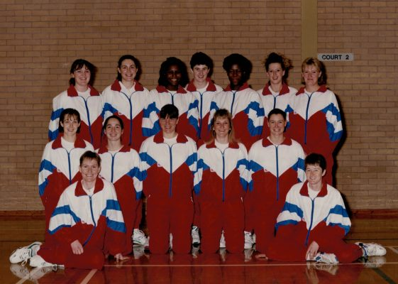 Senior Squad. Back row left to right:  Fiona Murtagh, Leigh McManus, Maggie Farrell, Lisa Topliss, Yvette Foster, Tracey Miller, Rachael Pockley. Front row:  Pat Sweeney, Sammy Bird, Kendra Lowe (Captain), Sharon Fogarty, Lucia Sdao. and on the floor Justine Saunders (left) and Sally Young (right).